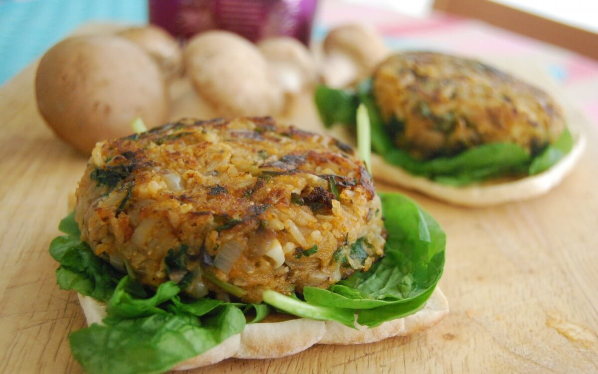 Vegan & Gluten-Free Mushroom Rice Burgers