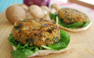 vegan and gluten-free mushroom veggies rice burger